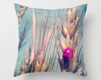 Throw Pillow, Pink Ladybug, 16x16, 18x18, 20x20, Decorative Pillow, Wheat, Blue Sky, Nature Cushion, Wedding Gift, Living Room, Summer Happy