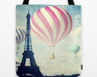 Hot Air Balloons Tote Bag, Paris Fantasy Tote, Eiffel Tower, Whimsy Tote, Beach Tote, Shopping Tote, Shoulder Bag, Market Tote, Dreamy Tote