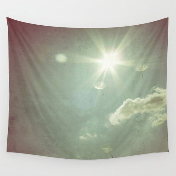 Flying Wishes, Wall Tapestry, Wall Art, Fine Art Photography, Modern, Home, Nature, Dandelion, Wedding, Outdoor, Garden, Sun, Sunny, Sky