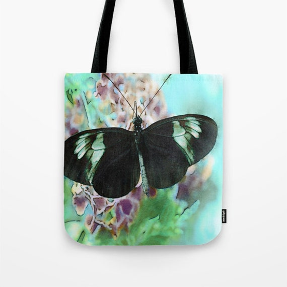 Butterfly Tote Bag, 13x13, 16x16, 18x18, Teal Blue Tote, Flower Tote, Beach Tote, Shopping Tote, Shoulder Bag, Market Tote, Whimsical Tote