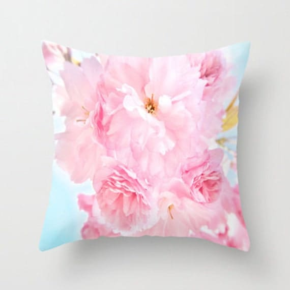 Throw Pillow, Soft Blue Sky with Pink Peonies, 16x16, 18x18, 20x20, Decorative Pillow, Cover, Cushion, Wedding Gift, Flower Pillow, Whimsy