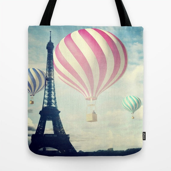Hot Air Balloons Tote Bag, Paris Fantasy Tote, Eiffel Tower, Whimsy Tote, Beach Tote, Shopping Tote, Shoulder Bag, Market Tote, Dreamy Tote