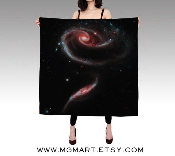 Rose Galaxy Habotai Silk Scarf, Fashion, Accessories, Space Silk Shawl, Women, Beach, Cover up, Rose of Galaxies Scarf, Black Silk Scarf