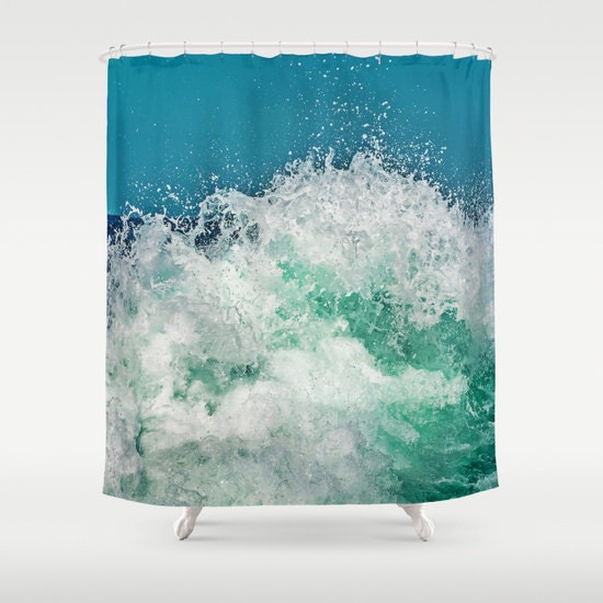 ocean shower curtain bathroom aqua blue home decor nautical