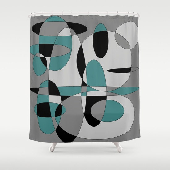 grey and coral shower curtain. Retro Shower Curtain  Grey Bathroom Modern Home Decor Abstract Circles Black Mint Green Man
