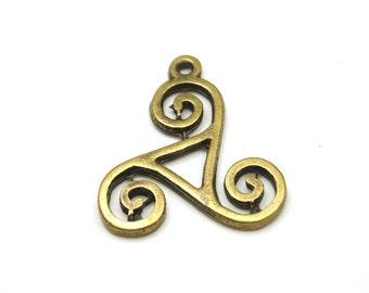 2 pcs - Antique Bronze Plated Brass Filigree Earrings, charm-38x32mm-(804-029AB)