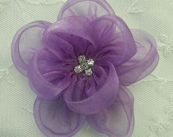 Orchid Fabric Beaded Flower Applique Rhinestone Organza Rose Bridal Pageant Hat Corsage