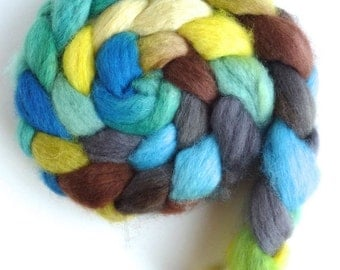BFL Wool Roving - Hand Painted Spinning or Felting Fiber, View from the Shade