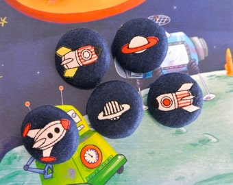 Kawaii Navy Blue Children Space Shuttle Ship Outer Space Fabric Covered Buttons, Children Buttons, Flat Back, 1 Inch 5's