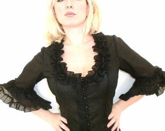 DOMINIKE black cotton blouse black victorian blouse elegant black blouse black blouse bell sleeves