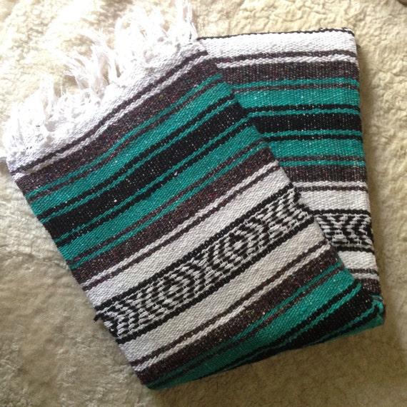 Vintage Serape Mexican Saltillo Blanket Rug By