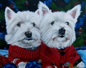 Custom Dog Portrait, Dog Painting, Custom Pet Painting, Dog Lover Gift, 11 x 14  (TWO Pets) Westie, Painting from Photo, Oil Painting