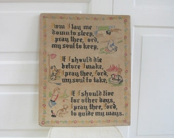 Vintage Cross Stitch Sampler Embroidery Child Lords Prayer Blessing Cat Dog Hand Sewn Antique