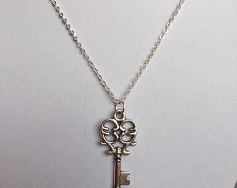 Silver Skeleton Key Necklace, Steampunk Key Necklace, steampunk jewelry