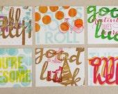 Happy accidents letterpress postcard set