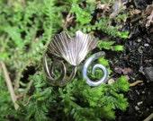 Sterling Silver and Brass Brutalist Ginkgo Leaf Adjustable Ring