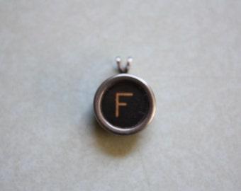 Typewriter Key Letter F Pendant Necklace