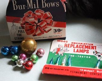 Vintage Holiday Mix of Bur-Mil Bows, mini glass ornaments and midget bulbs