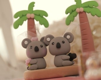 koala Wedding Cake Topper-love Koala with Palm tree and hammock----k753