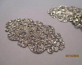8 Filigree Connectors   Stamped Silver  Wraps etc   Wraps