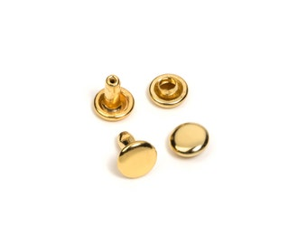 100pc - 6mm Head x 6mm Post Rivet - Round Cap - Double Headed - Gold Plated -  Free Shipping (RIVET RVT-142)