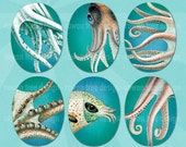 TENTACLE LOVE Digital Collage Sheet 30x40mm Ovals Octopus Squid Ocean - no. 0210