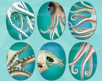 TENTACLE LOVE Digital Collage Sheet 30x40mm Ovals Octopus Squid Ocean - no. 0210
