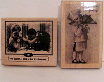 Two Rubber Stamps Thanksgiving Greeting and Ick!