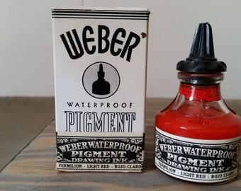Vintage 1 Oz. Bottle Weber Waterproof Pigment Drawing Ink..Opaque Light Red Vermilion..