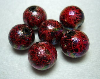Red Splashed Acrylic Round Beads (Qty 6) - B2864