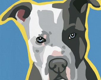 Blue Nose Pitbull Pop Art Dog Painting Print Colorful
