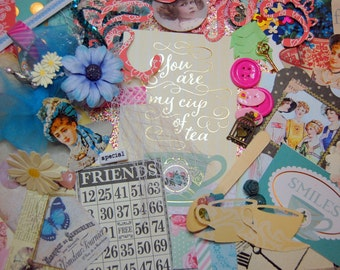 Time ForTea Scrapbook Inspiration Kit Layouts Cards Journals SMASH Books Collage