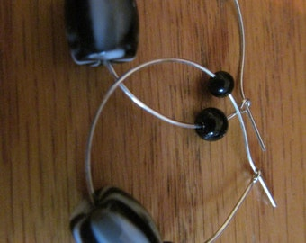 line black bead hoops