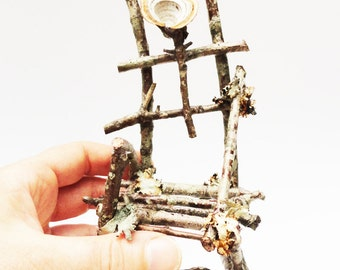 Primitive Mini Twig Chair, Fairy Chair, Fae Furniture, Rustic Wild Miniature Chair, Fungus Lichen Covered Chair