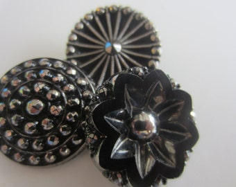 Vintage buttons, 3 assorted, and beautiful pressed glass and hand painted, black luster/ silver hand painted (apr 306)
