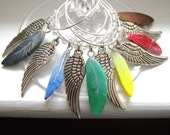 Set of 6 Wine Feather Wine Charms