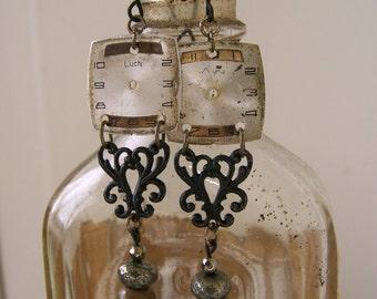 Altered Earrings Dangle Pierced Earrings Vintage Watch Face Earrings Pierced Earrings Vintage Altered Art  Vintage Gypsy Style Earrings Boho
