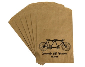 """Wedding Favor Candy Bags - Vintage Antique Edwardian Victorian Rustic Wedding """"Tandem Bicycle"""" Candy Buffet Bags Favor Bags Treat Bags"""