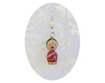 SHIPS AUGUST 3th - Single solitary INDIAN girl mini earring sari Hand painted ooak wooden art doll wearable dangle - Unique design