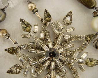 Winter is Coming-Antique Vintage Rhinestone Snowflake Assemblage Necklace