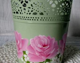 Decorative Pot Metal Container Hand Painted Pink Roses,white flowers Shabby Cottage