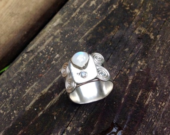 Size 11 wide band moonstone ring