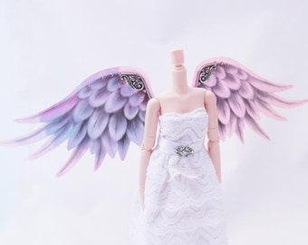 1/6 OOAK Angel wings for Dolls - Crystal Pink