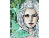 Luna Moth Limited Edition ACEO Print Fantasy Fairy Portrait Artist Trading Cards ATC
