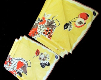 6 MCM linen napkins fruit basket design pure linen unused