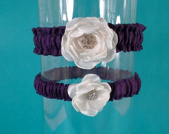 Bridal Garters, Eggplant Purple and Ivory Rose Wedding Garter Set L302, wedding garter set