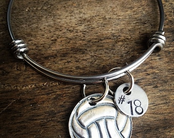 New Volleyball / Water Polo Bracelet Bangle Charm Sterling silver With Number or Initial
