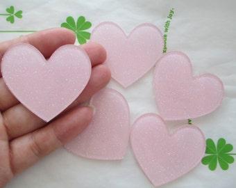 Glitter heart acrylic cabochons 4pcs 45mm x 42mm Light pink new item