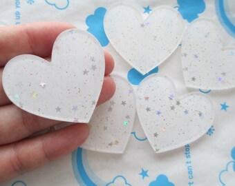 Glitter Star confetti heart acrylic cabochons 4pcs 45mm x 42mm White new item