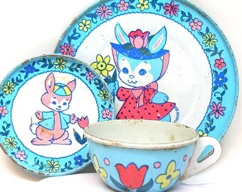 Spring Bunnies Tin Toy Tea Setting, 3 piece set.